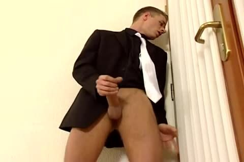 Business Suit Hallway Jack Off