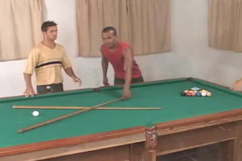 sexy gay threesome On The Pool Table