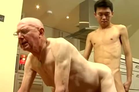 Skinny asian twink And White daddy man