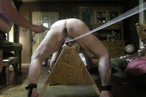 overweight Daddy get tied Up On His Sawhorse, Then Spanked And Balls Bashed.