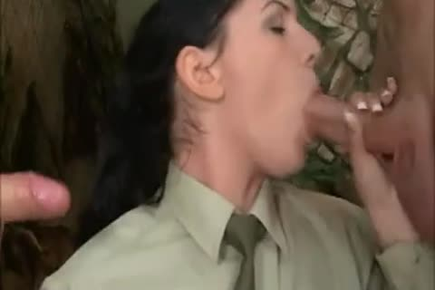 brunette beauty In Al butthole 3some With 2 nasty Soldiers