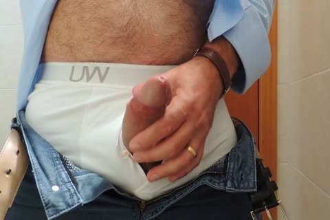 Teasing And wanking A admirable Tool With Precum In Some White Boxer underclothing