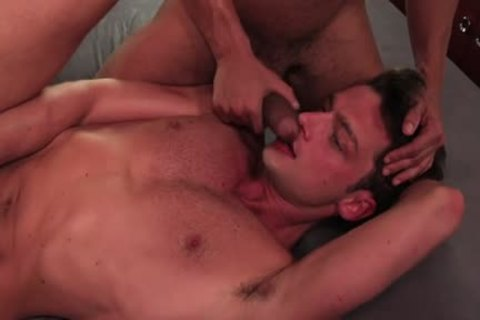 Tattoo homosexual three-some With cumshot