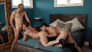 NextDoorBuddies: Lance Ford beside Aspen threesome